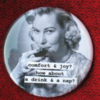 christmas pinback button Comfort and Joy 225 by picardcreative