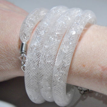 White bridal necklace - Wedding jewelry - wrap bracelet