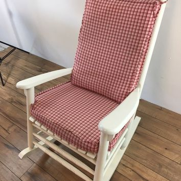 Vintage Custom Made White Painted Wood Rocking Chair, bearing a red and white checkered cushion, with slats, maker unknown