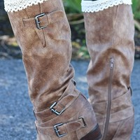 Southern Strut Strappy Buckle Boots (Taupe)