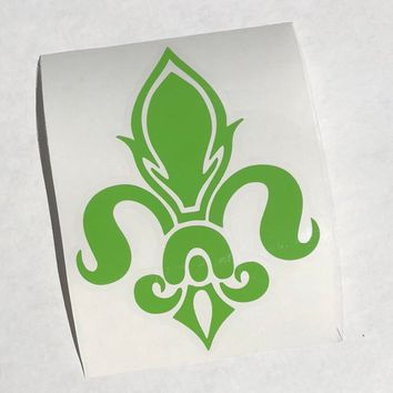 Green Fleur de Lis Vinyl Decal on Clear Transfer Paper - 5.75 x 4.25 - Apply to Tumbler, Car Window, Laptop, etc. - Made in the USA