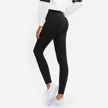 Perforated Side Fitness Leggings