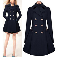 Long Sleeve Double Buttoned Pleated Wool Trench Coat