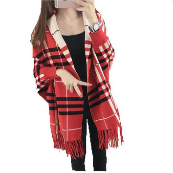 BabYoung 2017 Fashion Winter Women Plaid Knitted Sweater Bow Cardigan Short Wrap Batwing Sleeve Poncho Tassel Loose Coat Female