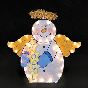 Snowman Angel Christmas Yard Art - 50 Clear Mini Lights