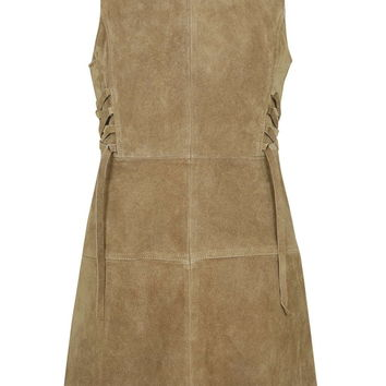 PETITE Suede Tie-Side Dress - Topshop