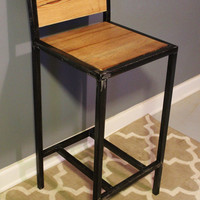 Bar Stool-Reclaimed Wood-Seating-Industrial-Metal-Chair-Furniture-Free Shipping