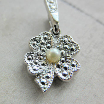 Vintage THEDA Sterling Silver, Pearl and Marcasite 4 Leaf Clover Pendant