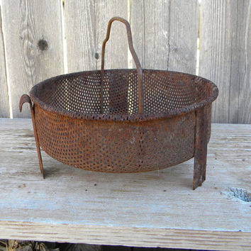 Antique farm basket iron rusted basket  strainer  primitive decor