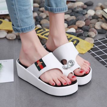 Shoes Rhinestone Thick Crust Summer Korean Casual High Heel Slippers [415634456612]
