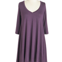 ModCloth Minimal Mid-length 3 Infinitely Fabulous Tunic in Purple