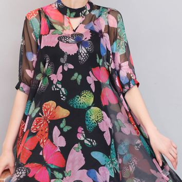 Band Collar Keyhole Hollow Out Butterfly Printed Two-Piece Blouse