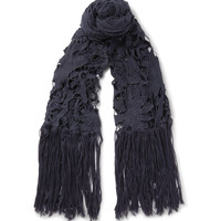 Dries Van Noten - Flame Fringed Macramé and Cotton-Voile Scarf
