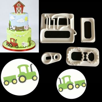 DIY Cooking 4 Piece Farm Tractor Fondant Cake Decorating Plunger Cookie Cutter Mold Fondant Cake Decorating Tools Icing Mold