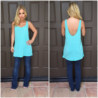 Summer Reverence Tank In Aqua Blue