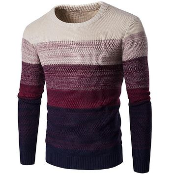 2019 Men's O-Neck Pullovers Sweater Long Sleeve Striped Casual Knitted Sweater