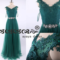Lace prom Dress Floor Length,Simple elegant Lace Bridesmaid Dress ,Prom Dress,cheap prom dress.custom formal dress2015,green lace prom dress