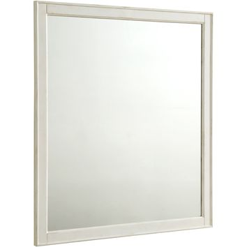 "Lexington 32"" Traditional Wall Mirror, Antique White"