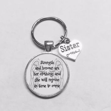 Sister Proverbs 31 Strength And Honour Are Her Clothing Wing Gift Keychain