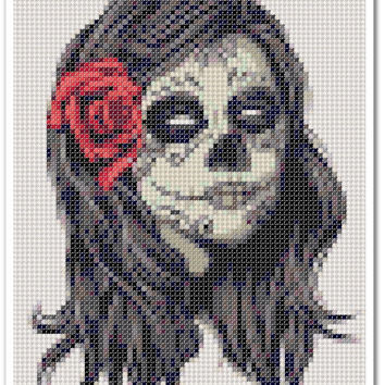 Girl Skull Cross Stitch Pattern, Girl Skull x stitch pattern, Cross stitch Embroidery, Embroidery pattern