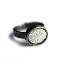 White Drusy Oval Ring on Triple Band in Sterling Silver