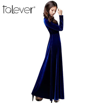 2016 European Style Large Size Long Sleeve V-Neck Women Dress Solid Senior Gold Velvet Ankle-Length A-Line Draped Dress