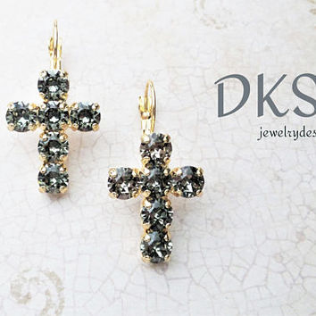 Black Diamond, Swarovski Cross Earrings, Lever Back, 6mm, Gold Setting, Easter, Religion, Gifts of Faith, DKSJewelrydesigns, FREE SHIPPING