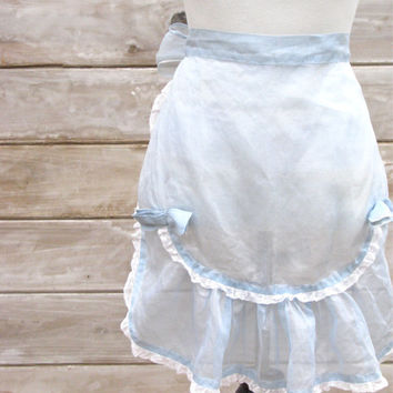 Light Blue Semi Sheer Hostess Apron with Bows