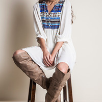 Denise Multi Patterned Peasant Tunic Dress:Ivory