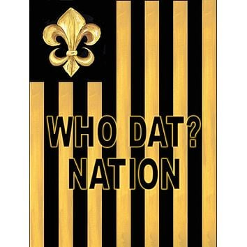 Black and Gold Fleur de lis Nation Flag Canvas House Size