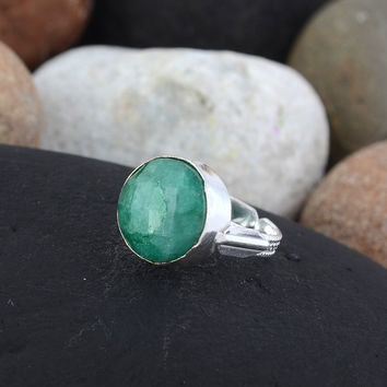 Emerald Ring/Vintage Rough Cut Emerald/Silver Ring