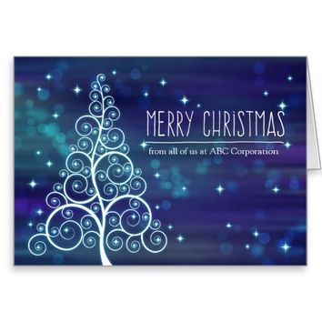 Merry Christmas from All, Custom Front, Swirled Tr Greeting Card