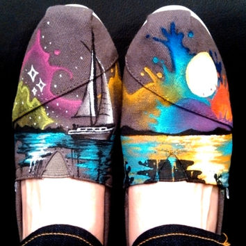 Hand Painted Shoes Gray Canvas Custom TOMS Nautical Theme Wearable Art Compass Anchor Colorful Sunset Custom Kicks Custom Clothing Gift Idea