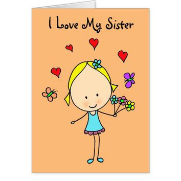 I Love My Sister, Personalized Card