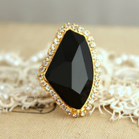 Swarovski adjustable Black and Gold Rhinestone statement Ring - 14k plated gold geometric ring