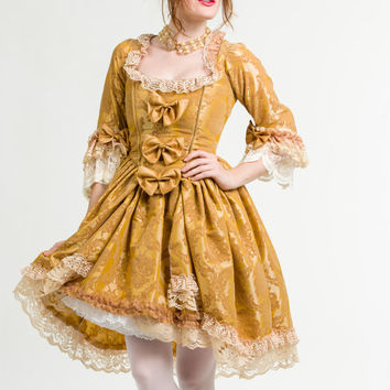 Marie Antoinette Victorian 18th century gold costume Gown