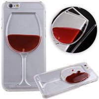 2015 New Fashion Luxury Transparent 3D Wine Glass Dynamic Liquid Hard PC Clear Back Case Cover Shell for Apple iPhone 6 4.7 inch