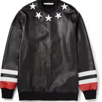 Givenchy - Black Star Detail Leather Sweatshirt with Jersey Back | MR PORTER