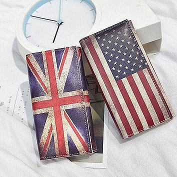 Fashion Womens Leather Credit Wallet Bifold ID Cash Coin Purse Clutch USA US UK Flag Wallet
