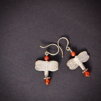 Silver Dragonfly Earrings Hill Tribe Fine Silver Dragonfly Dangles with Carnelian Accents Sterling Silver Hooks Nature Jewelry