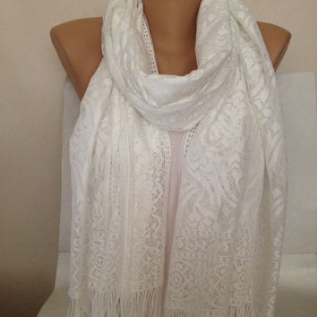 Cream  Wedding Shawl - Lace Scarf - Lace Shawl - Fringed Long Infinity Scarf  - Cream - Ivory Bridal Accessories - Women Gift Accessories