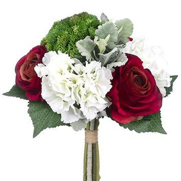 "Red Rose & White Hydrangea Silk Winter Wedding Bouquet with Green Sedum - 13"" Tall"