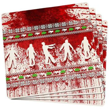 DCCKU3R Ugly Christmas Sweater Bloody Zombie Attack Survivor Set of 4 Square Sandstone Coasters