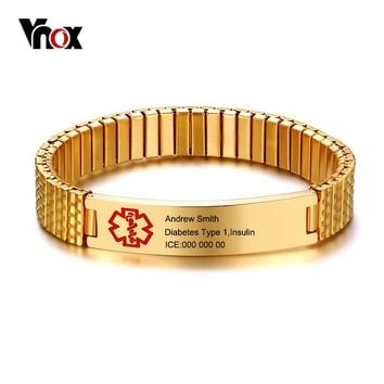 Vnox Elastic Chain Free Engraving Medical Alert ID Bracelet for Women Men Stainless Steel Emergency Personalize Unisex Jewelry