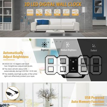 3D LED Digital Wall Alarm Clock,DIGOO DC-K3 Multi-Function Digital Alarm Clock With Snooze Function 12/24 Hour Display, Three adjustable Brightness, White