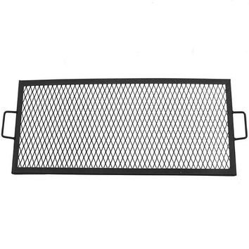 Sunnydaze Decor 36 Inch Metal Rectangle Fire Pit Cooking Grill