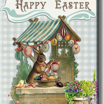 Happy Easter, Easter Bunny Picture on Stretched Canvas, Wall Art Décor, Ready to Hang