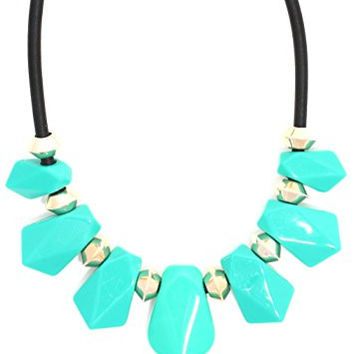 Crystal Statement Necklace Teal Blue Beads Gold Tone Bib NT01 Fashion Jewelry