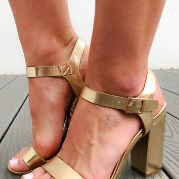 Take A Breath Heels: Gold