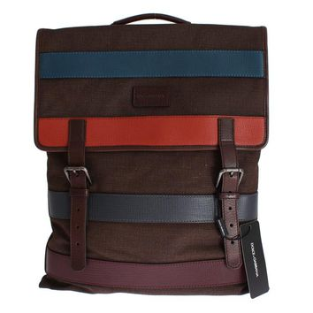 Brown Canvas Red Blue Leather Backpack